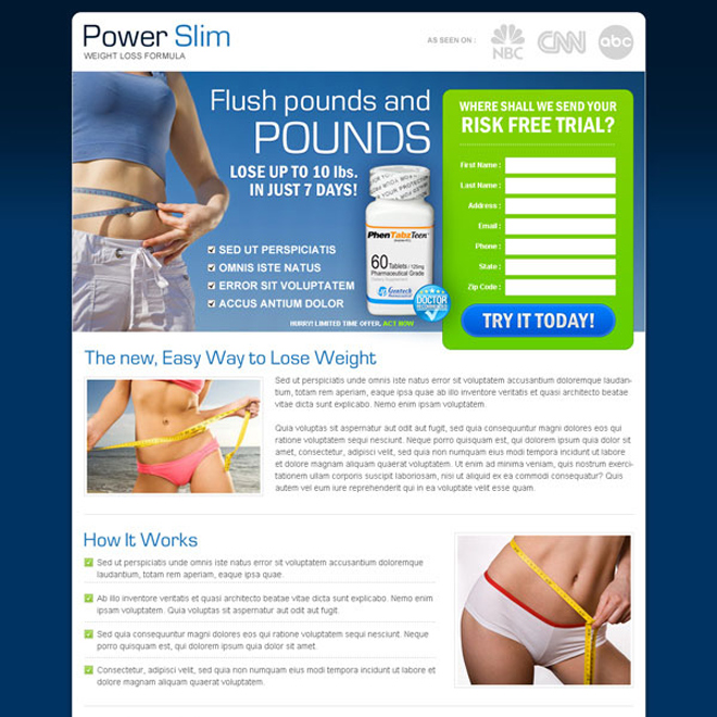 power slim weight loss capsule risk free trial lead capture landing page Weight Loss example