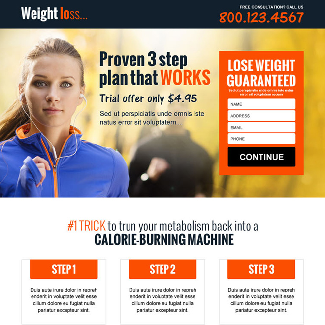 weight loss product lead gen landing page design Weight Loss example