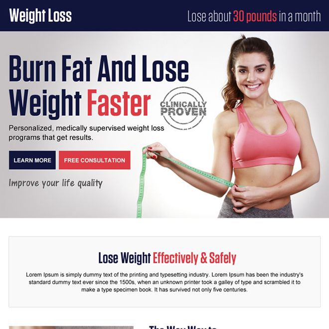 weight loss pay per click responsive landing page Weight Loss example
