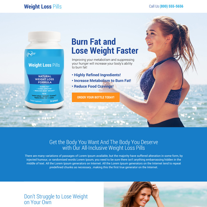clean weight loss pills selling mini landing page design Weight Loss example