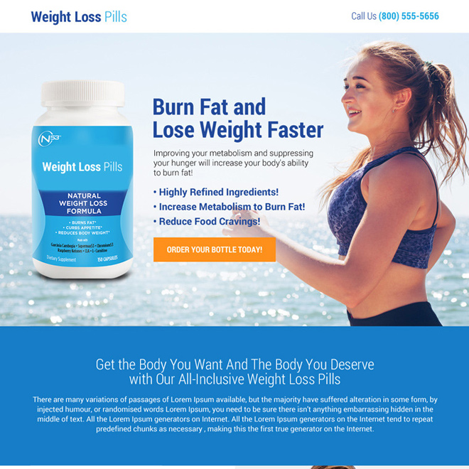 weight loss pills selling responsive landing page Weight Loss example