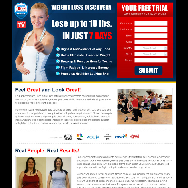 weight loss product free trial landing page design templates Weight Loss example