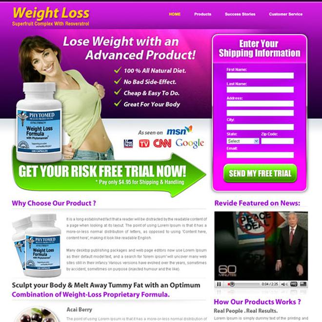 weight loss product lead capture landing page design templates Weight Loss example