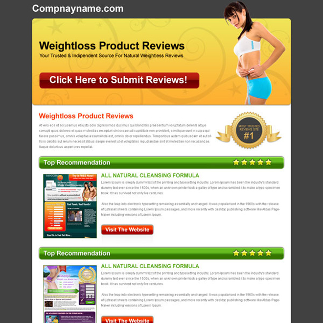 weight loss product top recommendation review html landing page design Landing Page Design example