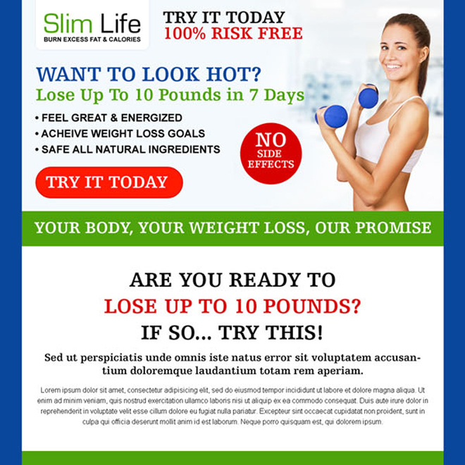 weight loss product long call to action most converting sales page design Sales Page example