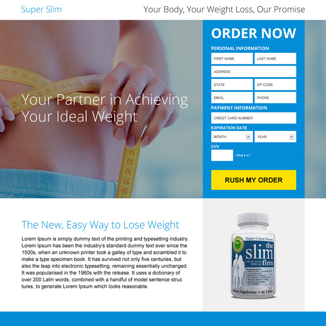 weight loss product selling landing page design Weight Loss example