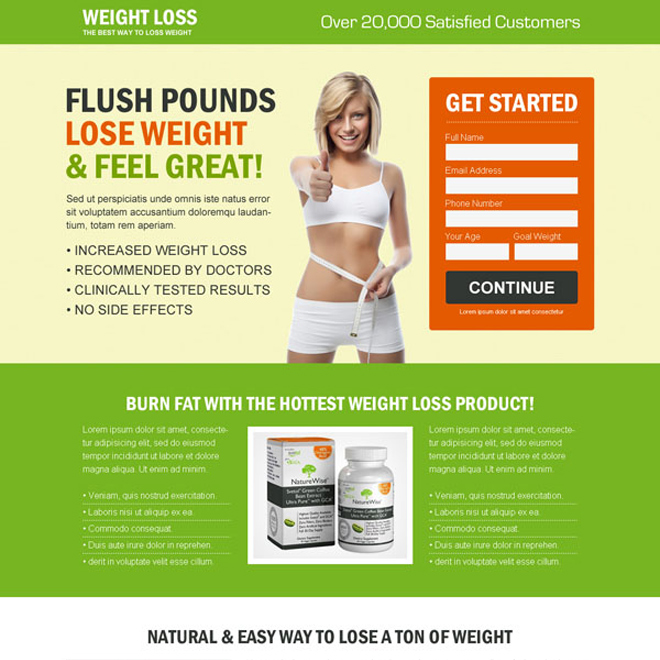 weight loss small lead capture product selling effective landing page design Weight Loss example