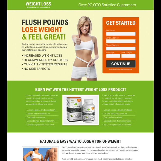 creative and appealing weight loss product selling responsive landing page design template Weight Loss example