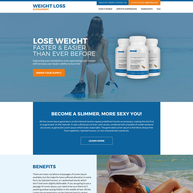 weight loss supplement html website design Weight Loss example