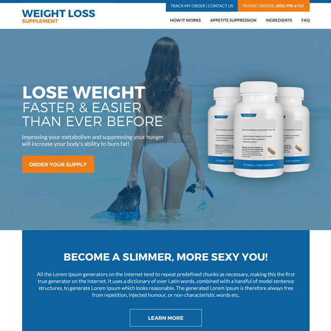 weight loss supplement responsive website design Weight loss example