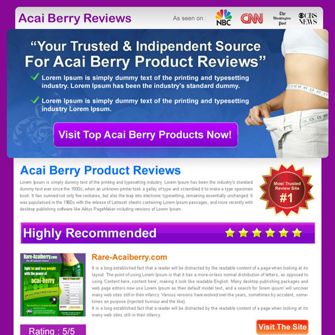 acai berry top 3 product review html landing page design Review Type example