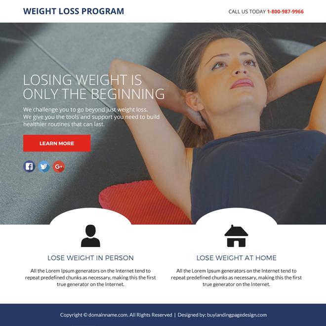 weight loss program lead funnel landing page design Weight Loss example