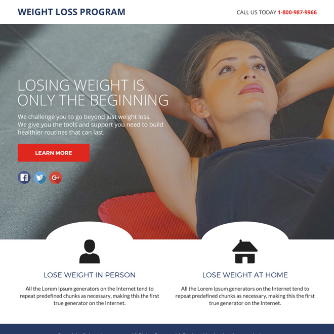 weight loss program lead funnel responsive landing page design Weight Loss example