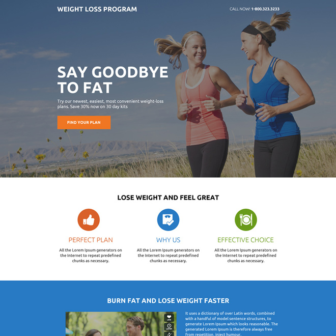 weight loss program minimal lead gen landing page design Weight Loss example