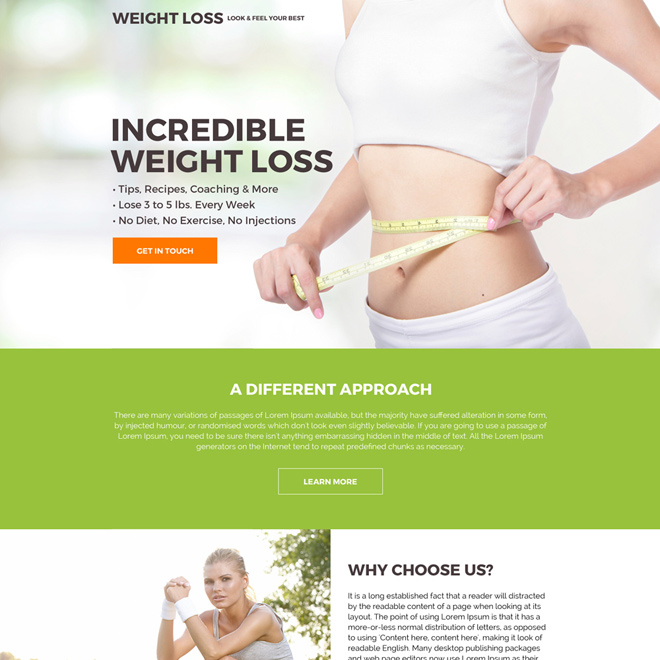 clean and minimal weight loss call to action landing page Weight Loss example