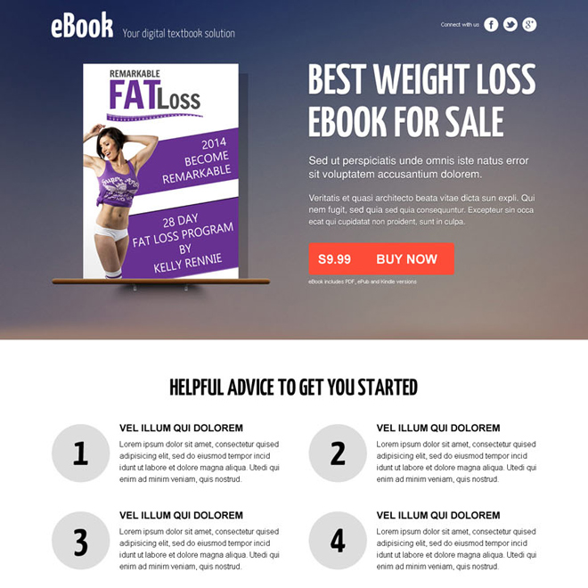 weight loss responsive ebook landing page design with video Ebook example