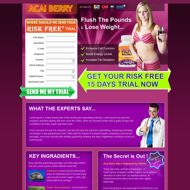 weight loss risk free trial lead gen landing page for sale Weight Loss example