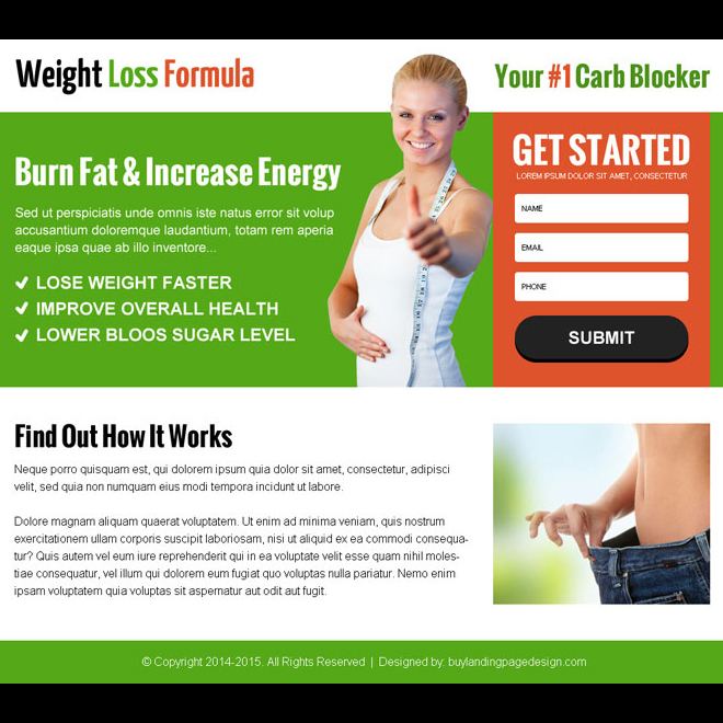 weight loss service lead capture ppv landing page design Weight Loss example