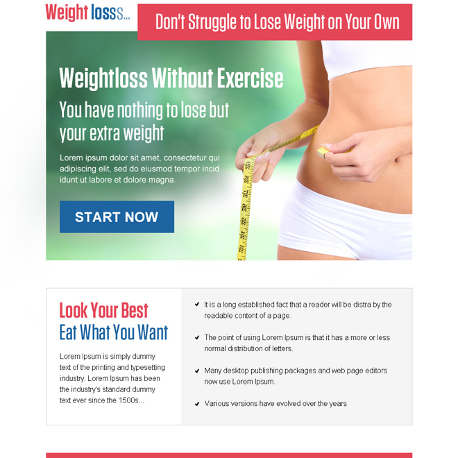 weight loss without exercise ppv landing page design Weight Loss example