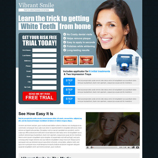 vibrant smile risk free trial lead capture landing page to boost your traffic and leads Teeth Whitening example