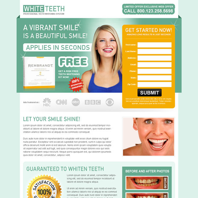 teeth whitening clean and user friendly long lead capture landing page Teeth Whitening example