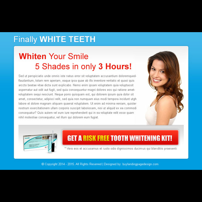 whiten your smile attractive call to action ppv landing page design template Teeth Whitening example