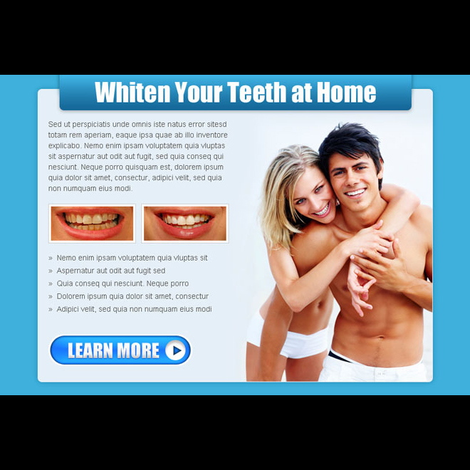 whiten your teeth at home call to action ppv landing page design Teeth Whitening example