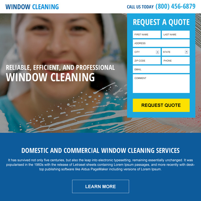 domestic and commercial window cleaning service landing page Cleaning Services example