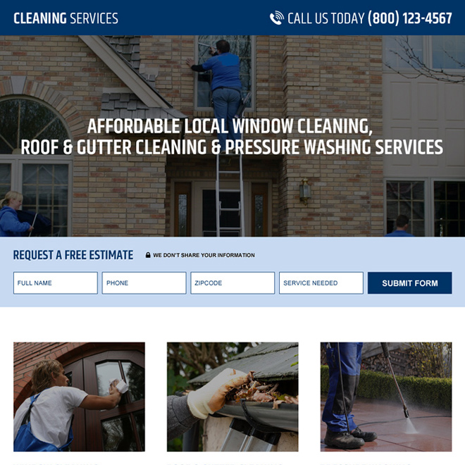 pressure washing service company lead capture landing page design Cleaning Services example