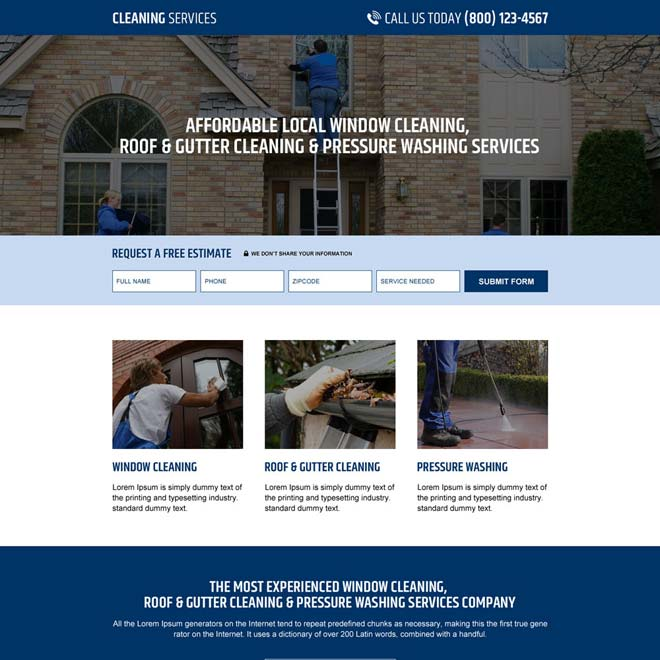 responsive gutter cleaning and pressure washing service company landing page Cleaning Services example