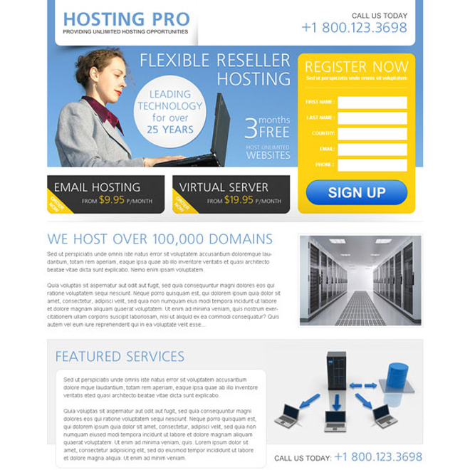 hosting pro registration lead capture form to boost your website traffic and conversion Web Hosting example