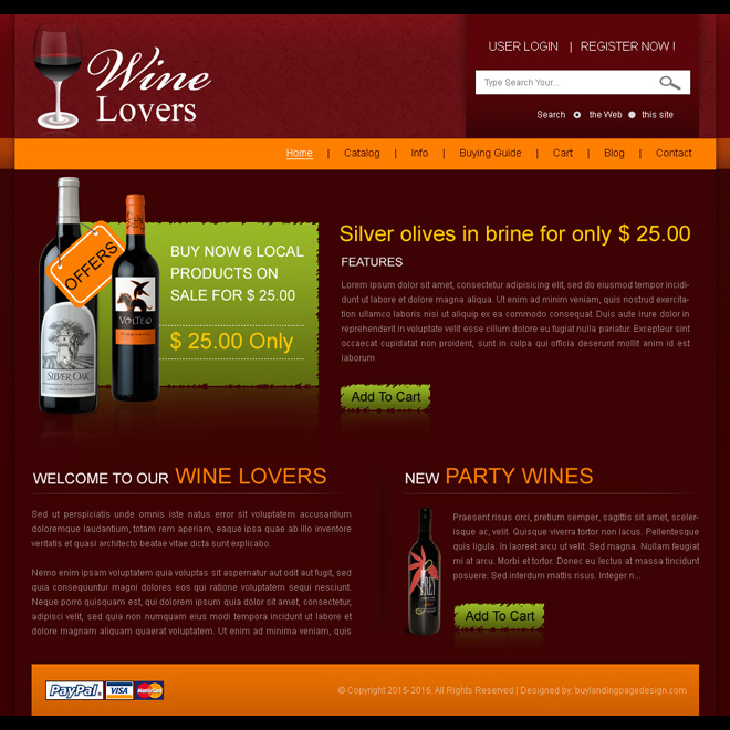 wine lovers online website template design psd Website Template PSD example