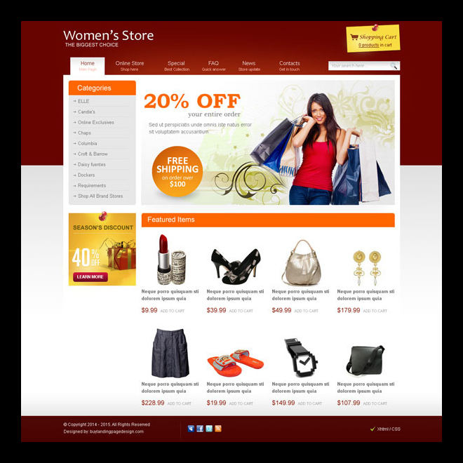 women fashion store effective and converting website template design psd Website Template PSD example