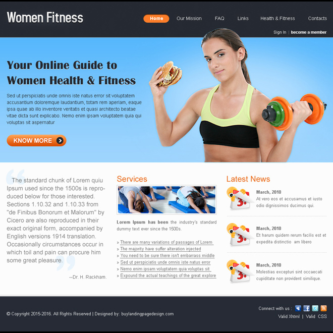 women fitness minimal website template design psd for sale Website Template PSD example