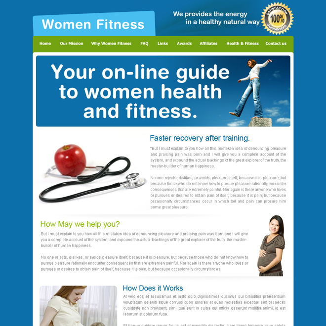 women health and fitness guide website template design psd for sale Website Template PSD example