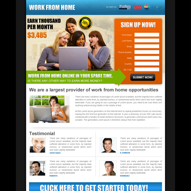 Work from home landing page design template example to earn money ...