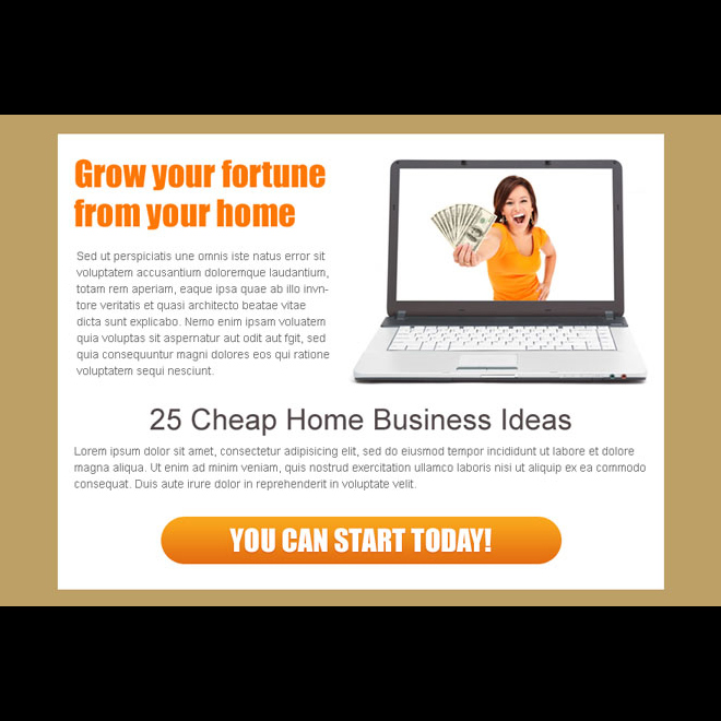 25 cheap home business ideas ppv landing page design Work from Home example