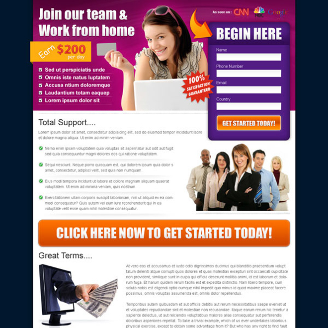 beautiful work from home business converting landing page design Work from Home example