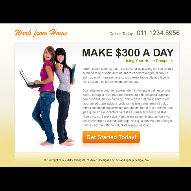 work from home clean cta ppv landing page design PPV Landing Page example