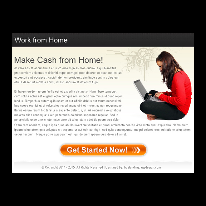 work from home business call to action ppv landing page design PPV Landing Page example