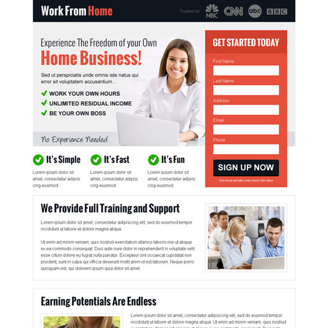experience the freedom of your own home business lead capture landing page design Work from Home example