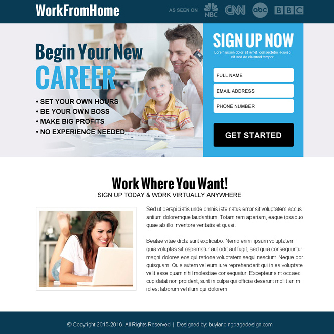 work from home career lead gen ppv landing page design Work from Home example