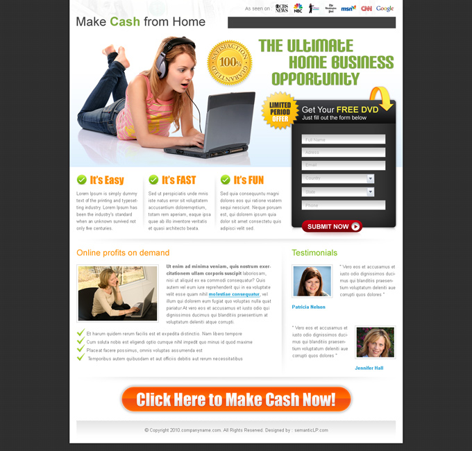 work from home landing page  example