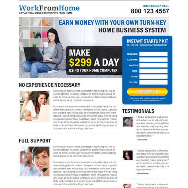 earn money with your own home business system attractive and converting squeeze page design Work from Home example