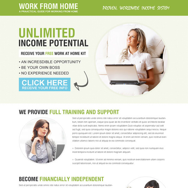 receive your free work from home kit call to action converting lander design Work from Home example