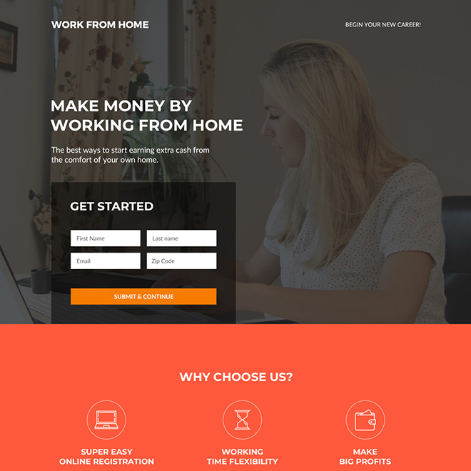 work from home business responsive landing page design Work from Home example