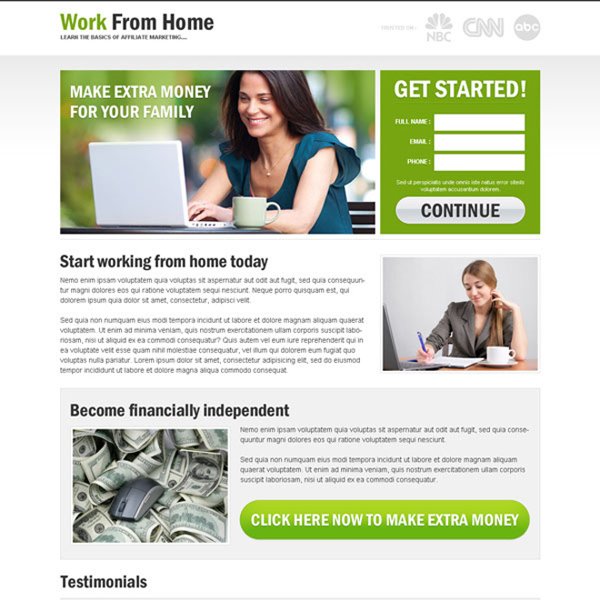 work from home clean and minimal small lead capture landing page Work from Home example