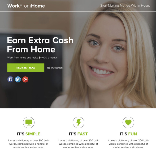 work from home lead funnel responsive landing page design Work from Home example