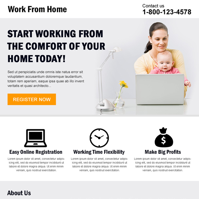 minimal work from home landing page design Work from Home example