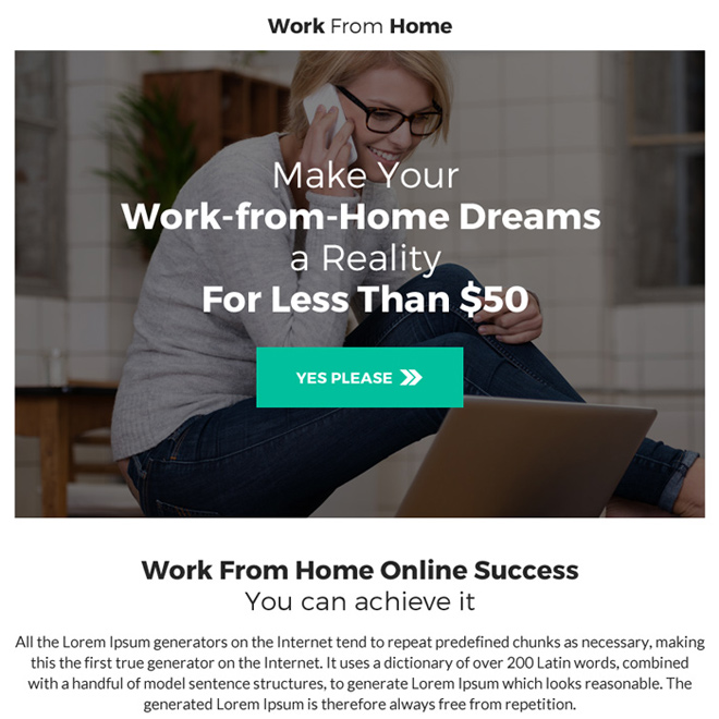 professional work from home ppv landing page Work from Home example
